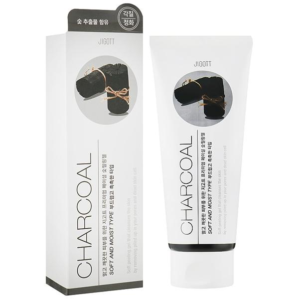 JIGOTT Premium Facial Charcoal Peeling Gel - Гель пилинг для очищения