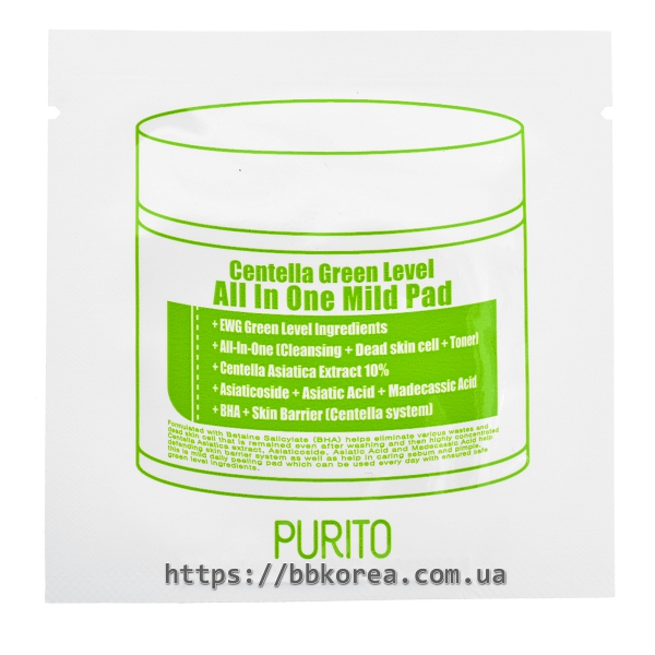 Пробник PURITO Centella Green Level All In One Mild Pad
